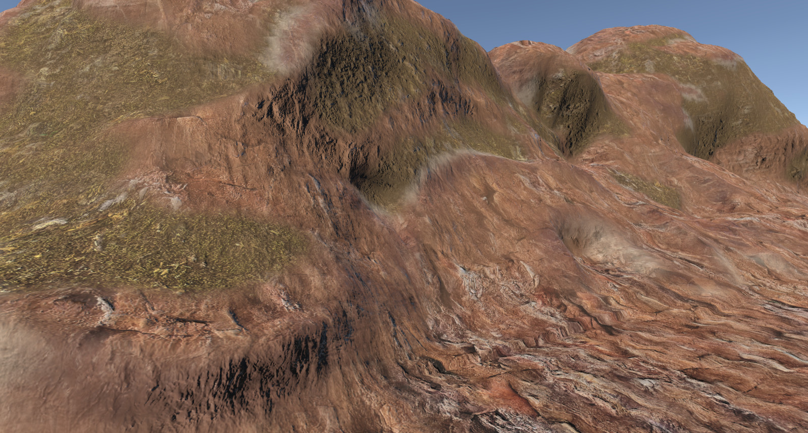 Tri-Planar mapping eliminates texture stretching on cliffs or overhangs for a more realistic environment. All without any UV maps.