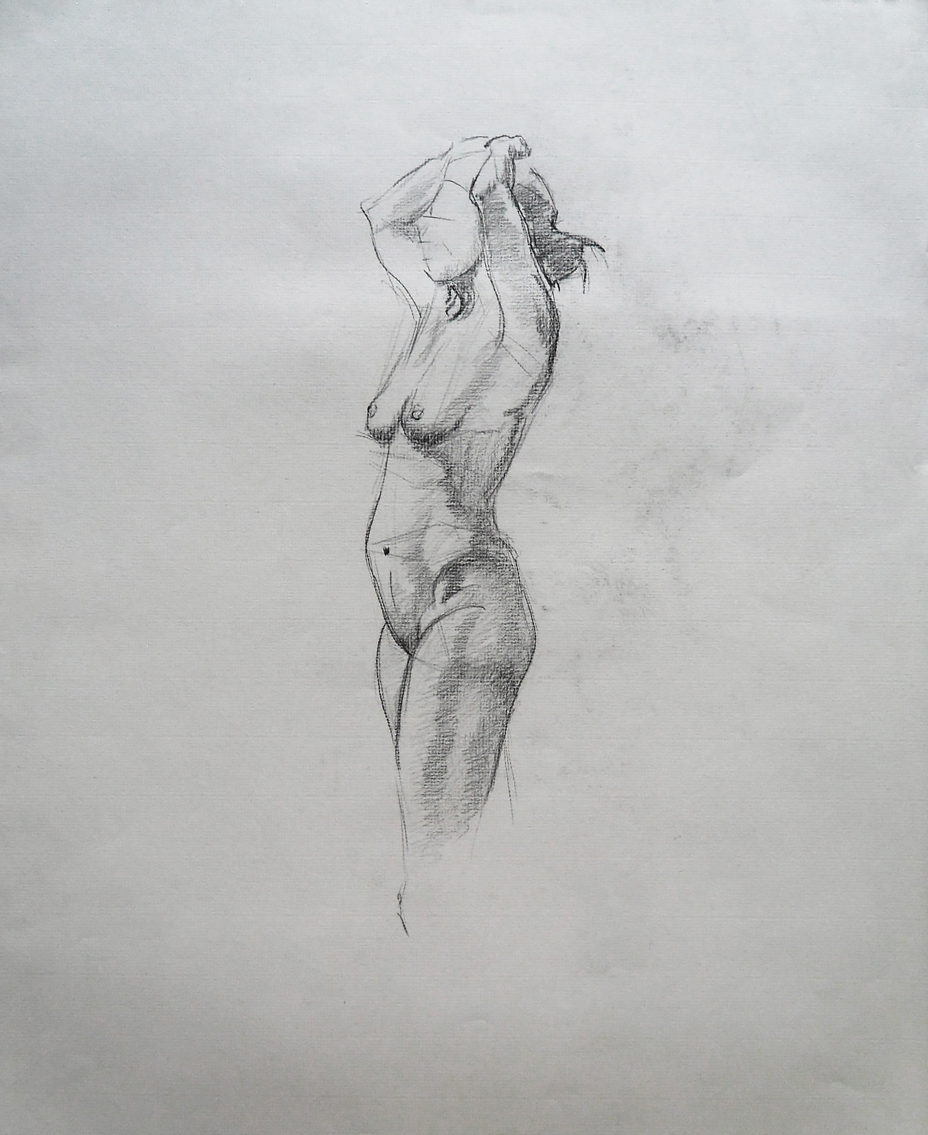 5 min. sketch from a female model. Charcoal on paper