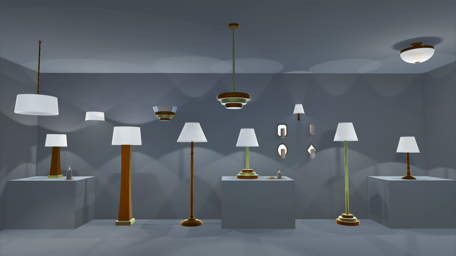 Simpler materials in Unity, no SSS on the lamp shades here.