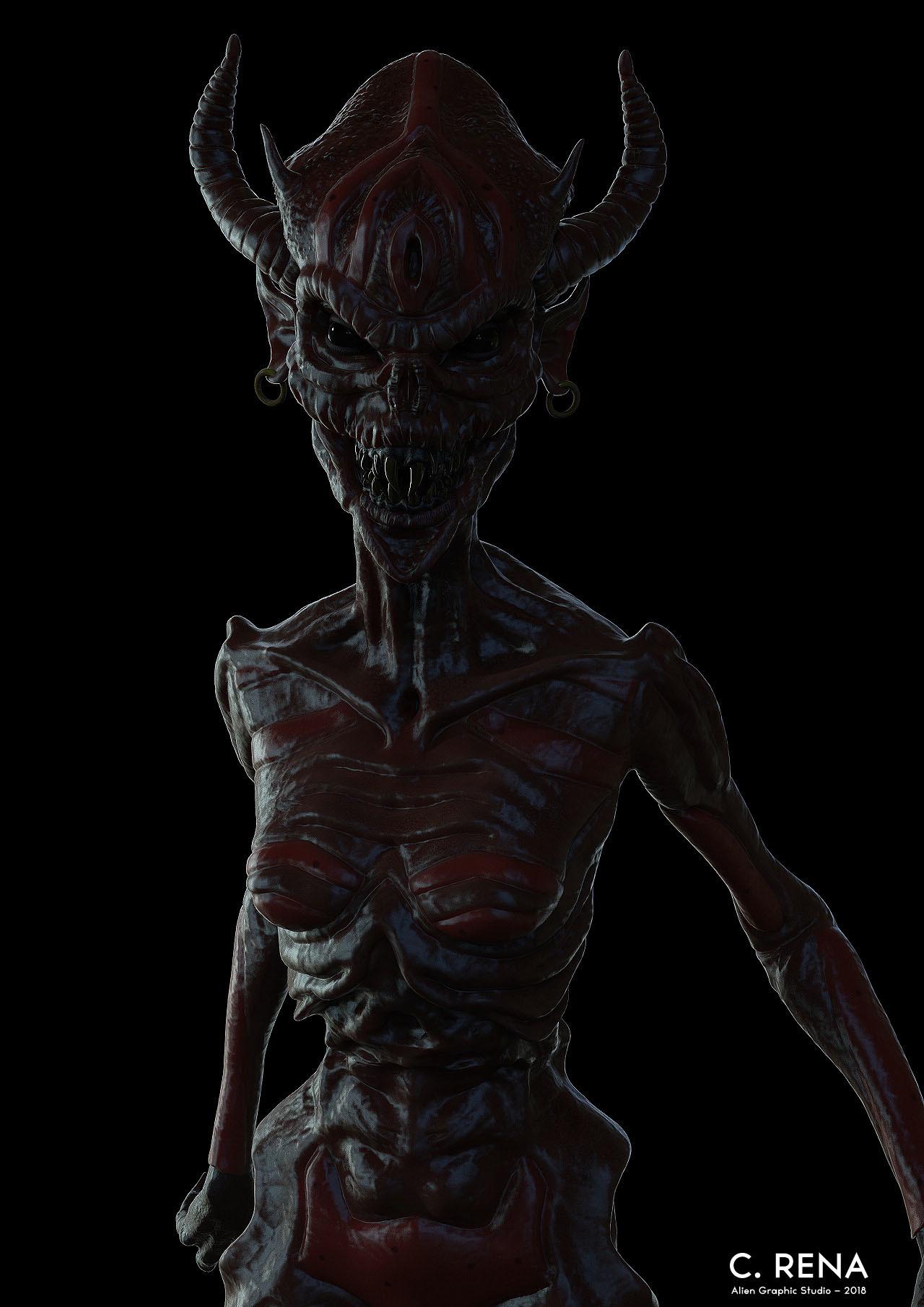 Chris rena female demon creature render 1