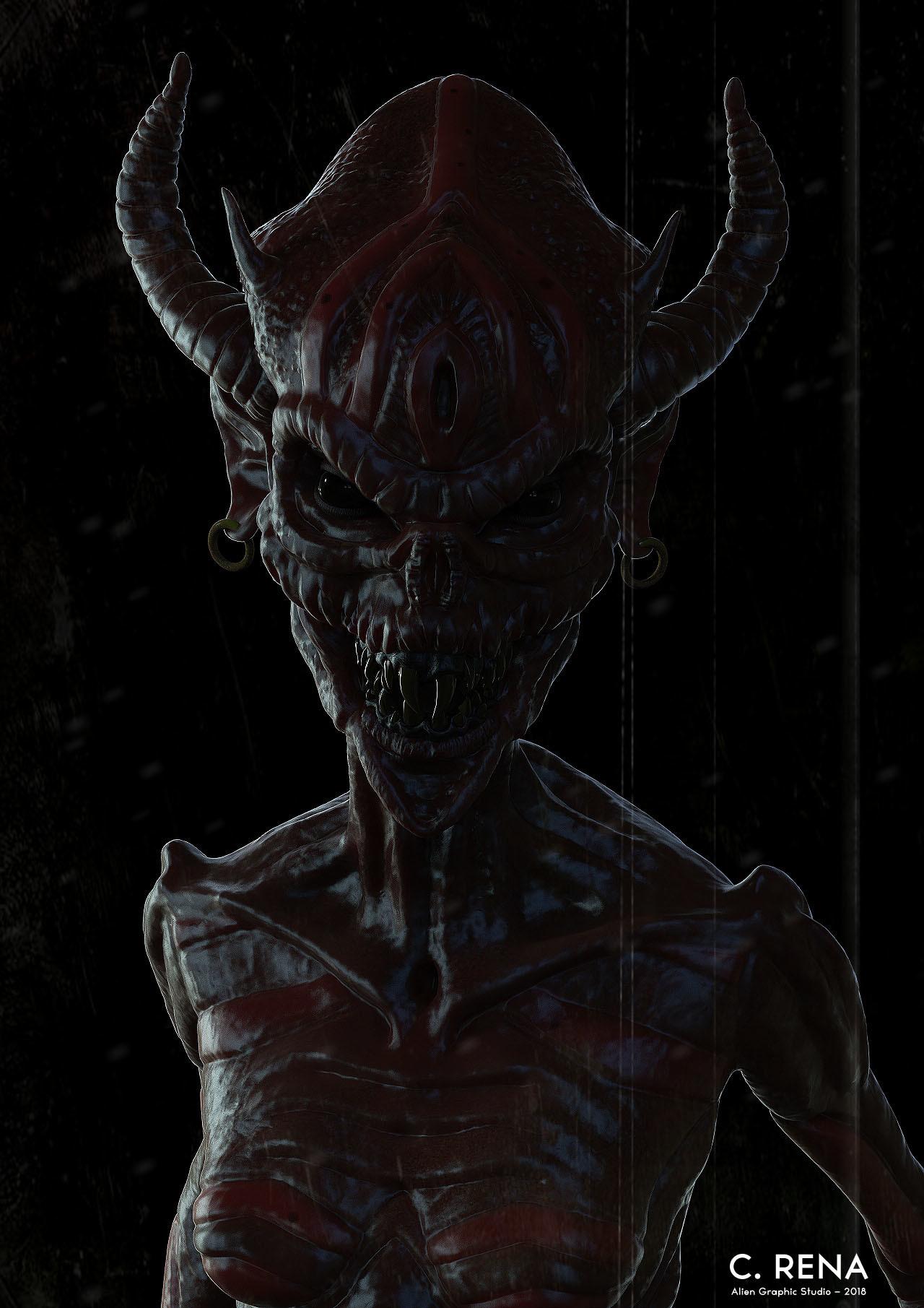 Chris rena female demon creature render 2
