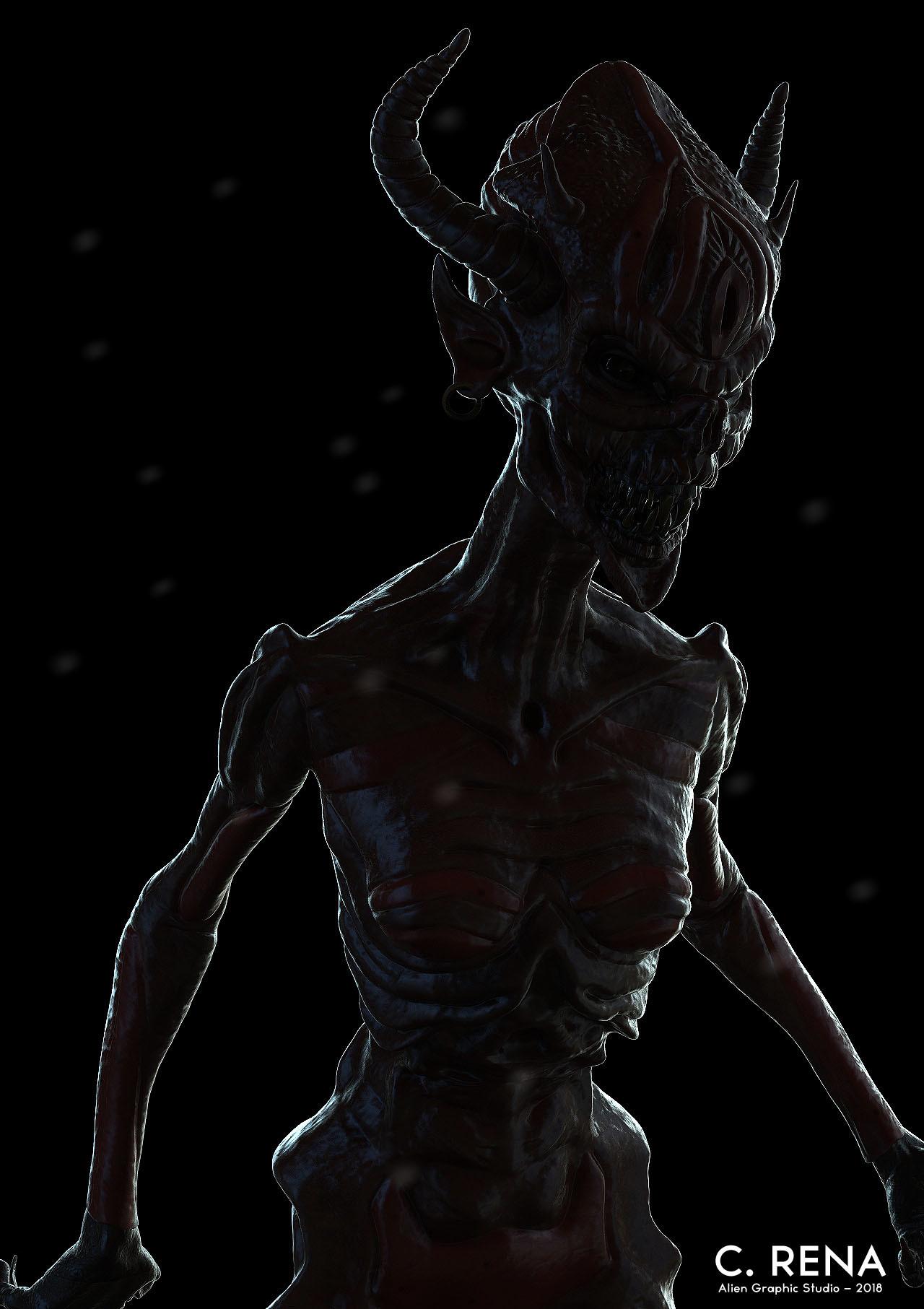 Chris rena female demon creature render 3