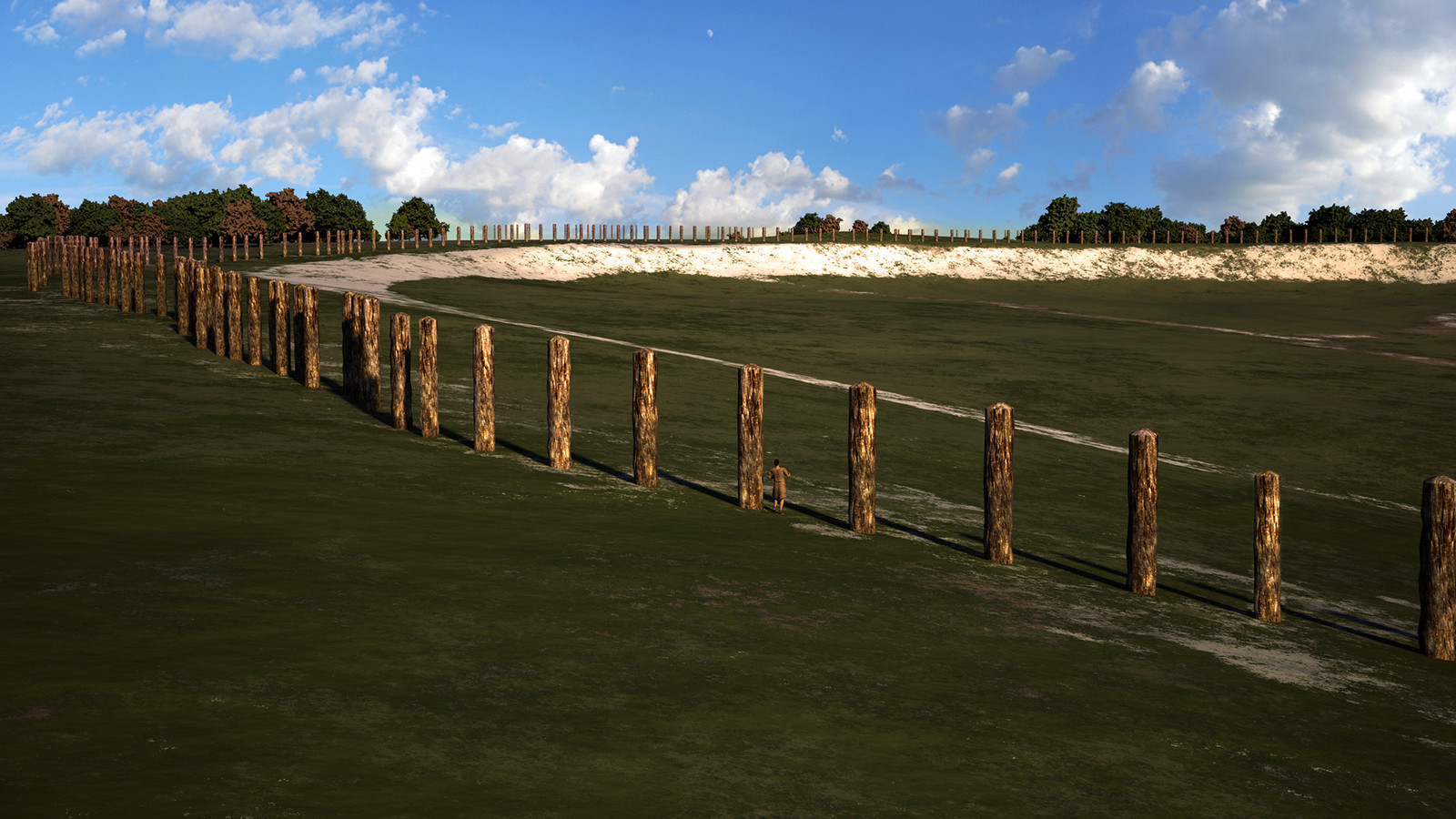 Durrington Walls at its first phase, with a super-henge made of timber posts that surrounded the site.