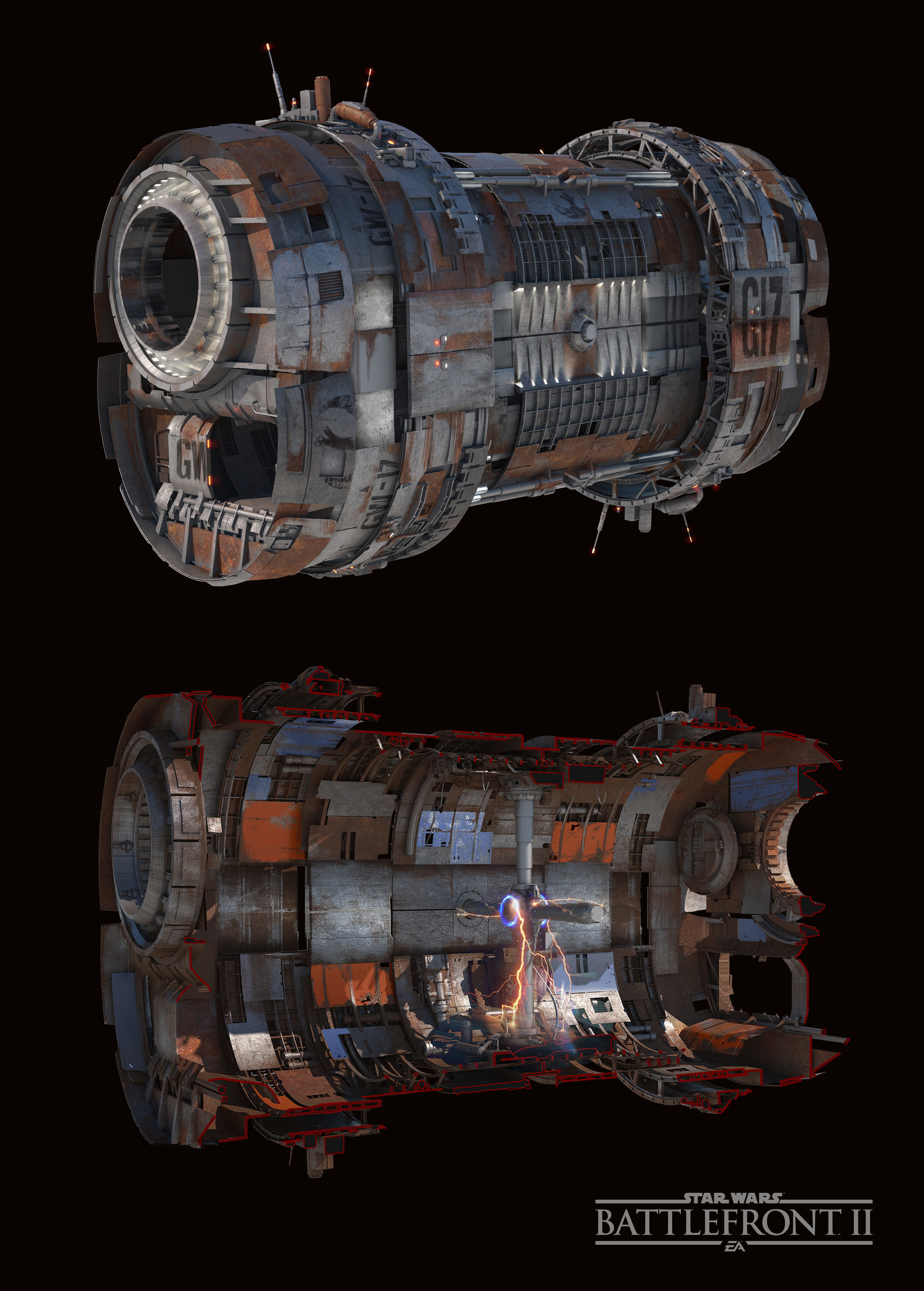 Concept art for the Gravity Well outside and inside