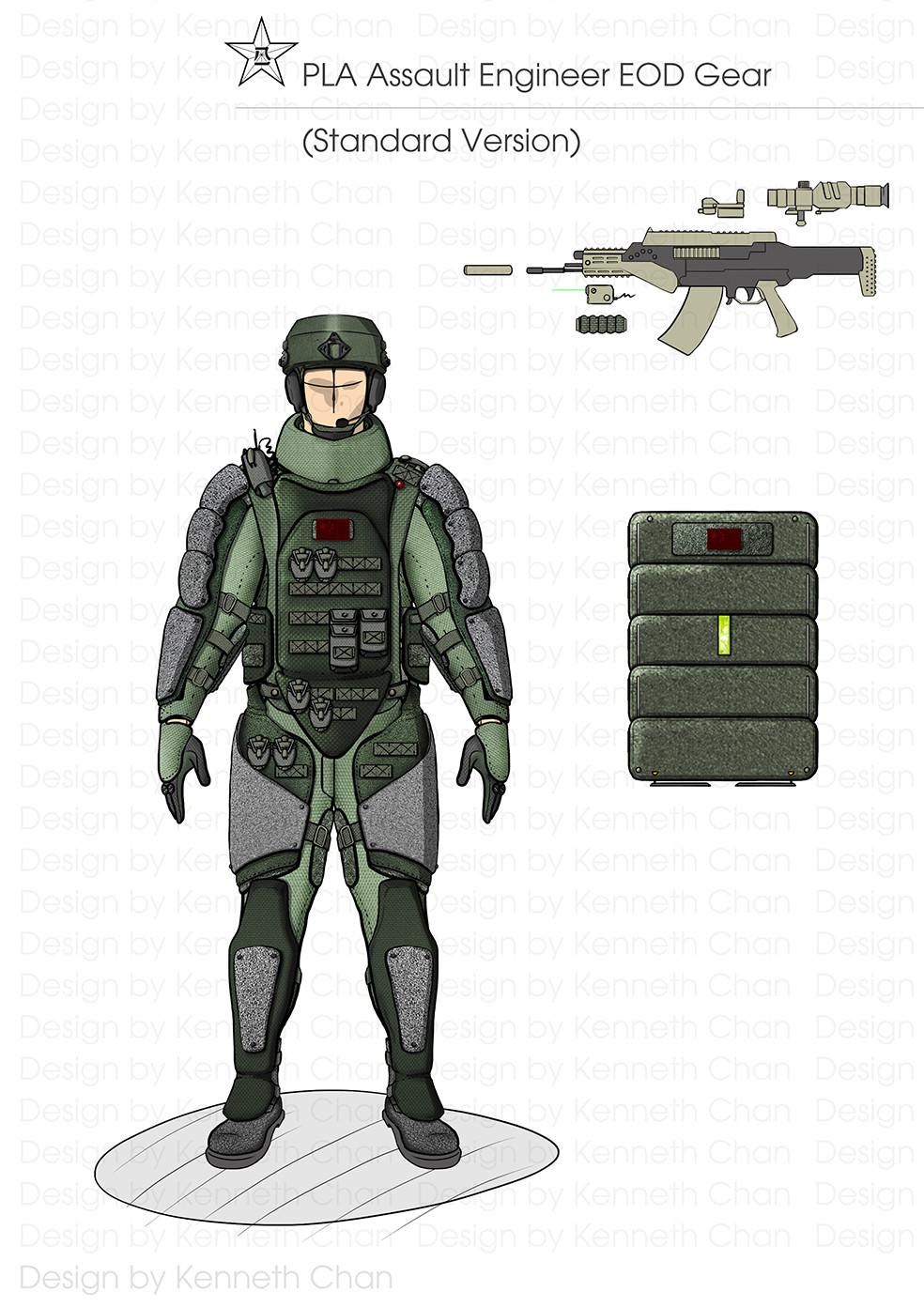 PLA Assault Engineers EOD Gear  Standard Version Gear (Lightweight Storage Bulletproof Shield & QBZ11 OICW)