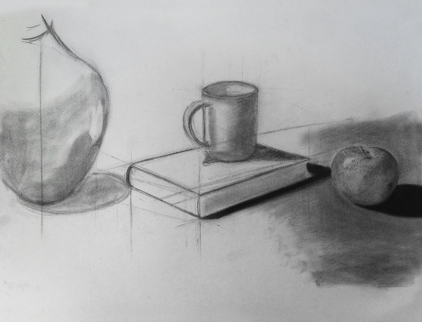 """Still life"" - study of perspective. charcoal, 49.5cm X 63.5cm"
