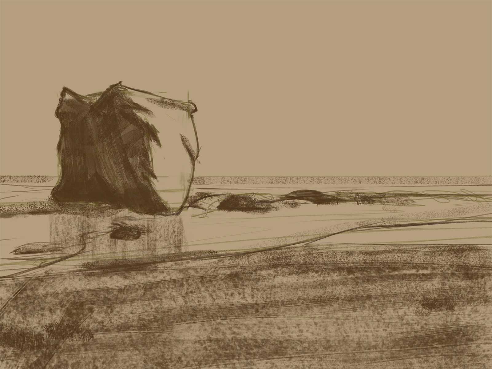 Andrew hunt pch beach underpainting 1