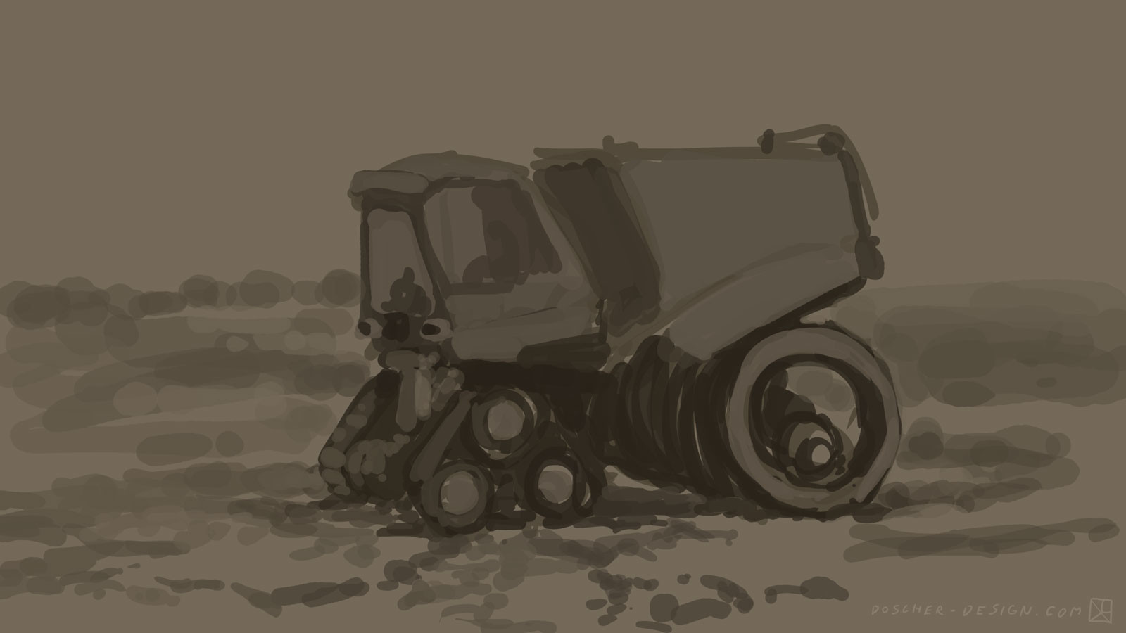 Initial sketch/underpainting. Thinking about shapes. Wanted it to be buglike but not cartoony.