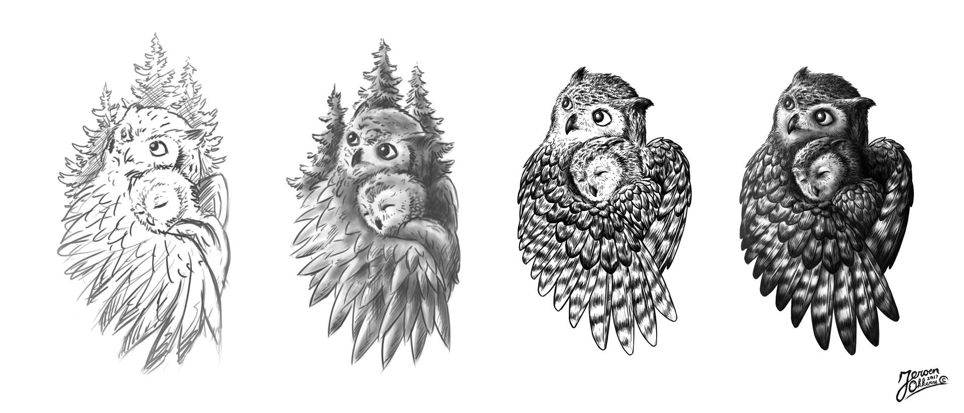 Artstation Owl Tattoo Design Jeroen Okkerse