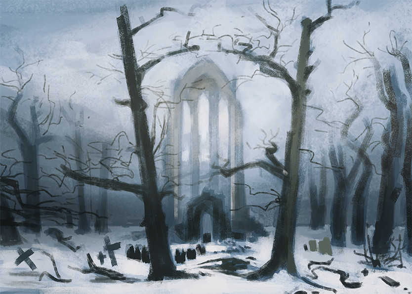 Study of Monastery Graveyard in the Snow by Caspar David Friedrich