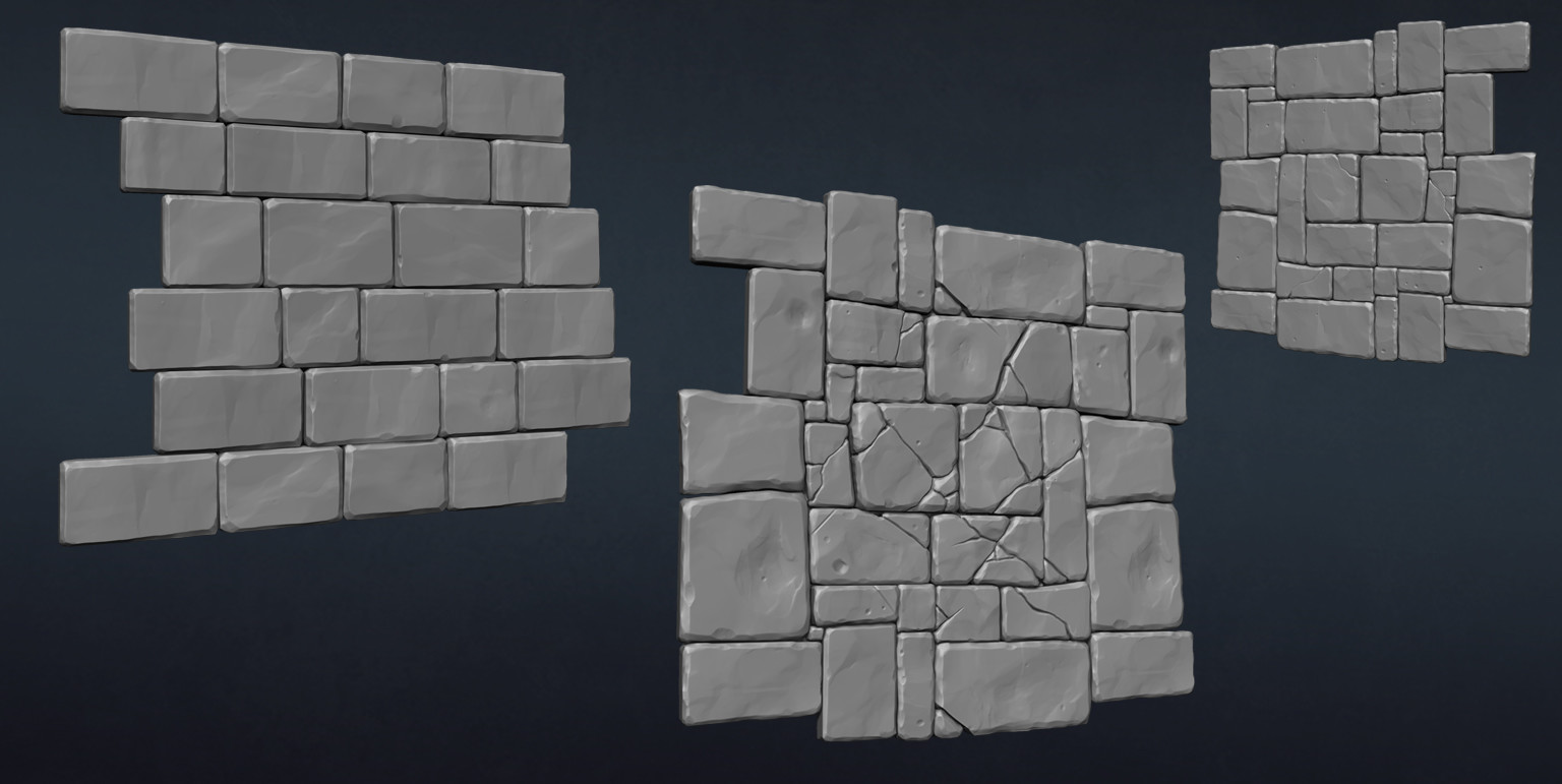 Zbrush hipoly sculpts of some of tiling wall and floor textures