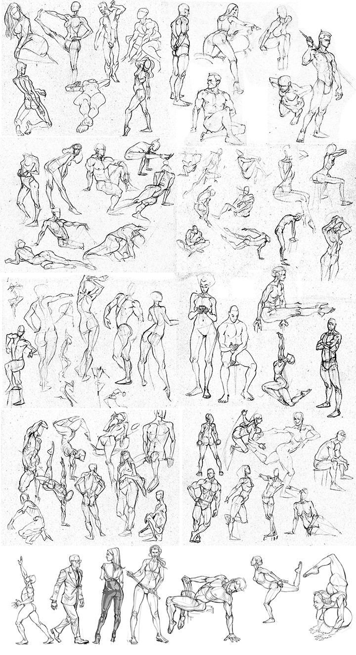 mostly 2 minute drawings, with a few 5 minute ones throughout.