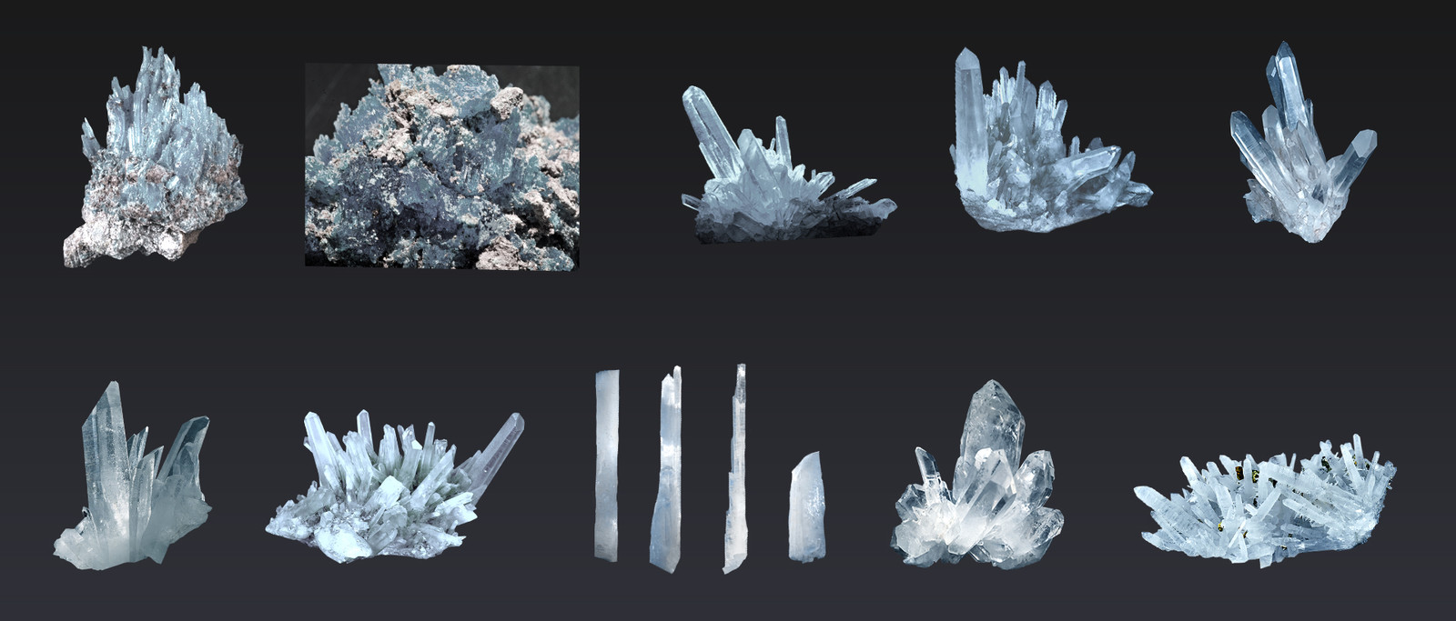 crystal assets I used to create the infection on each artwork. only 13 pieces but I placed them in different sizes and rotation to achieve almost endless variations.