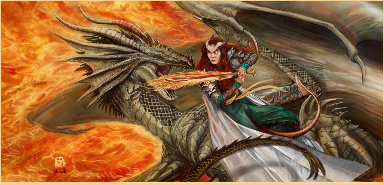 Dragon fighting a Teifling