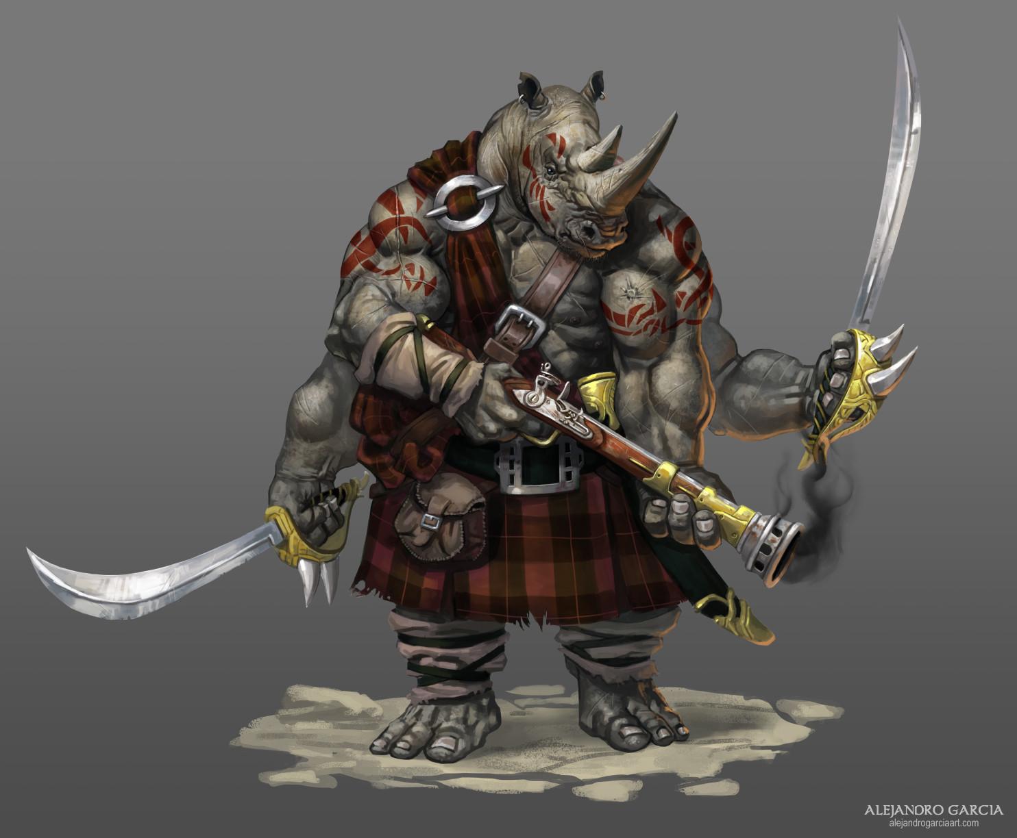 Rhino with kilt