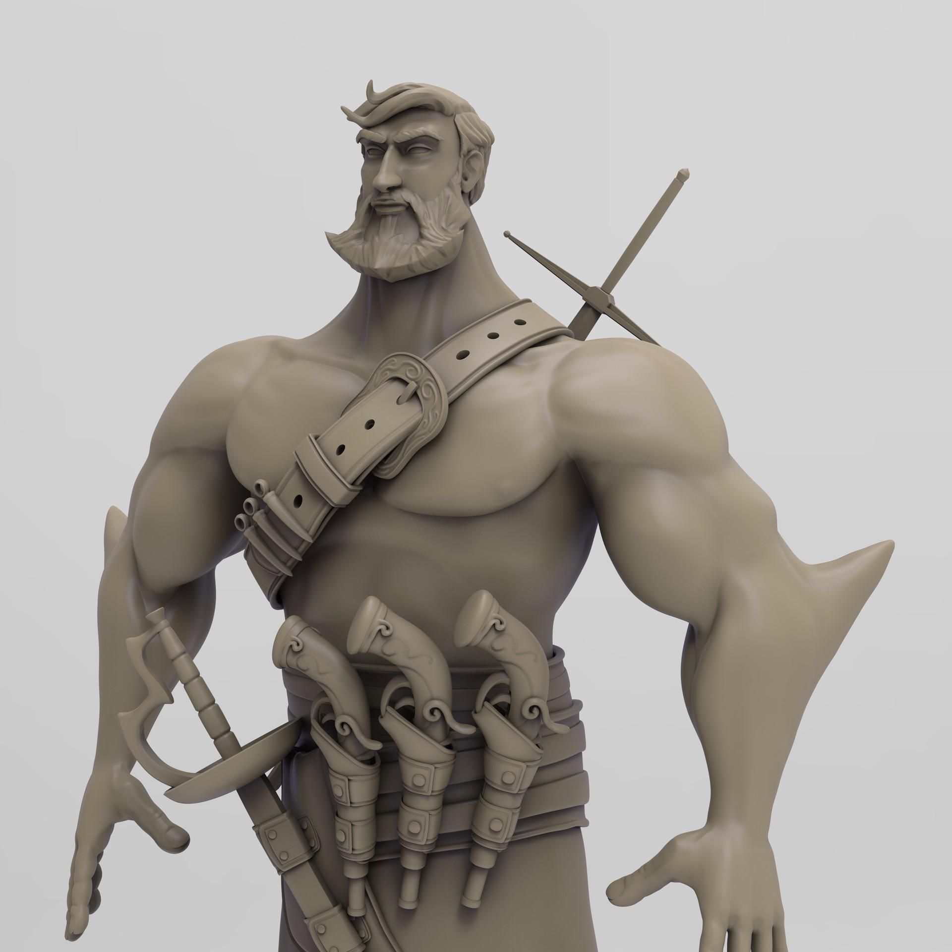 Keyshot render of the hi res sculpt - close-up