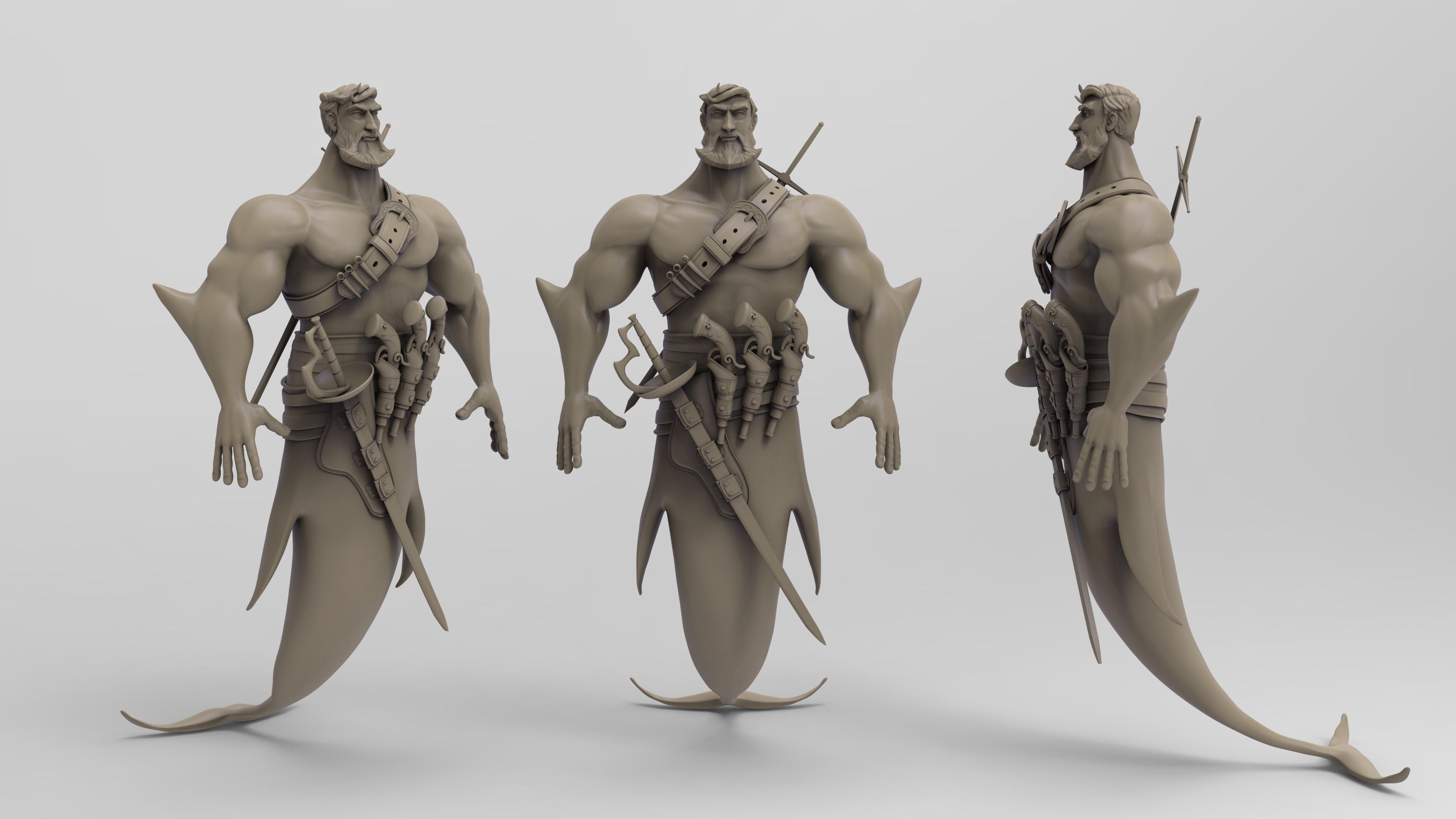 Keyshot render of the hi res sculpt