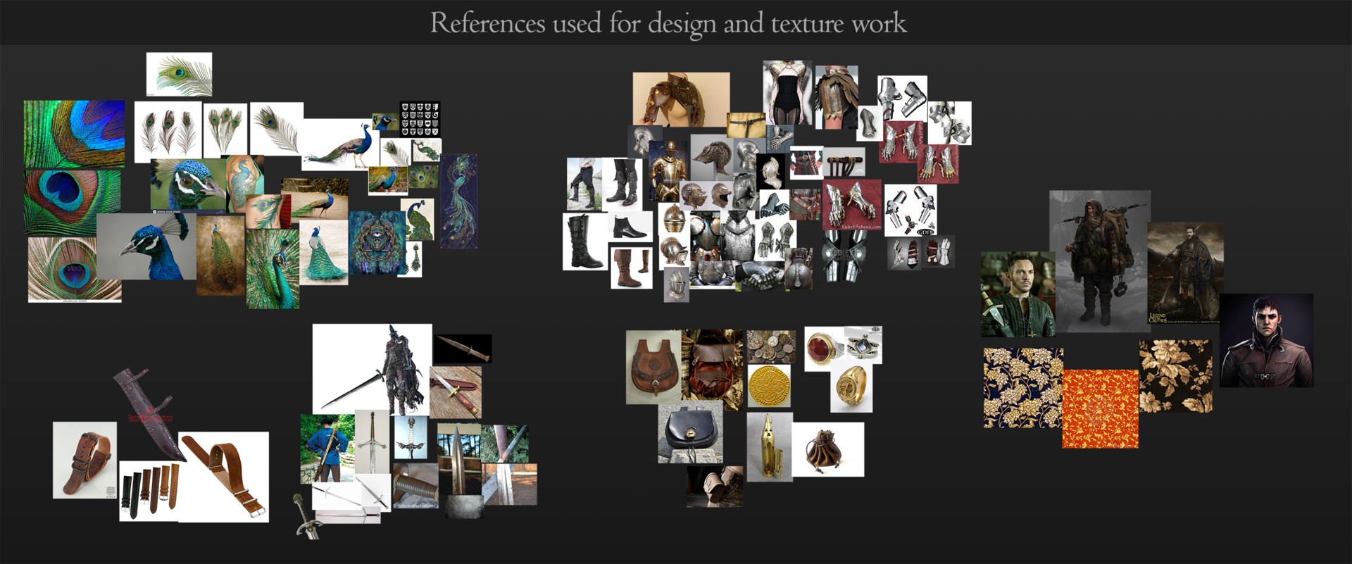 Images I used to help inform the design of my character, both in the concept and in the model itself.