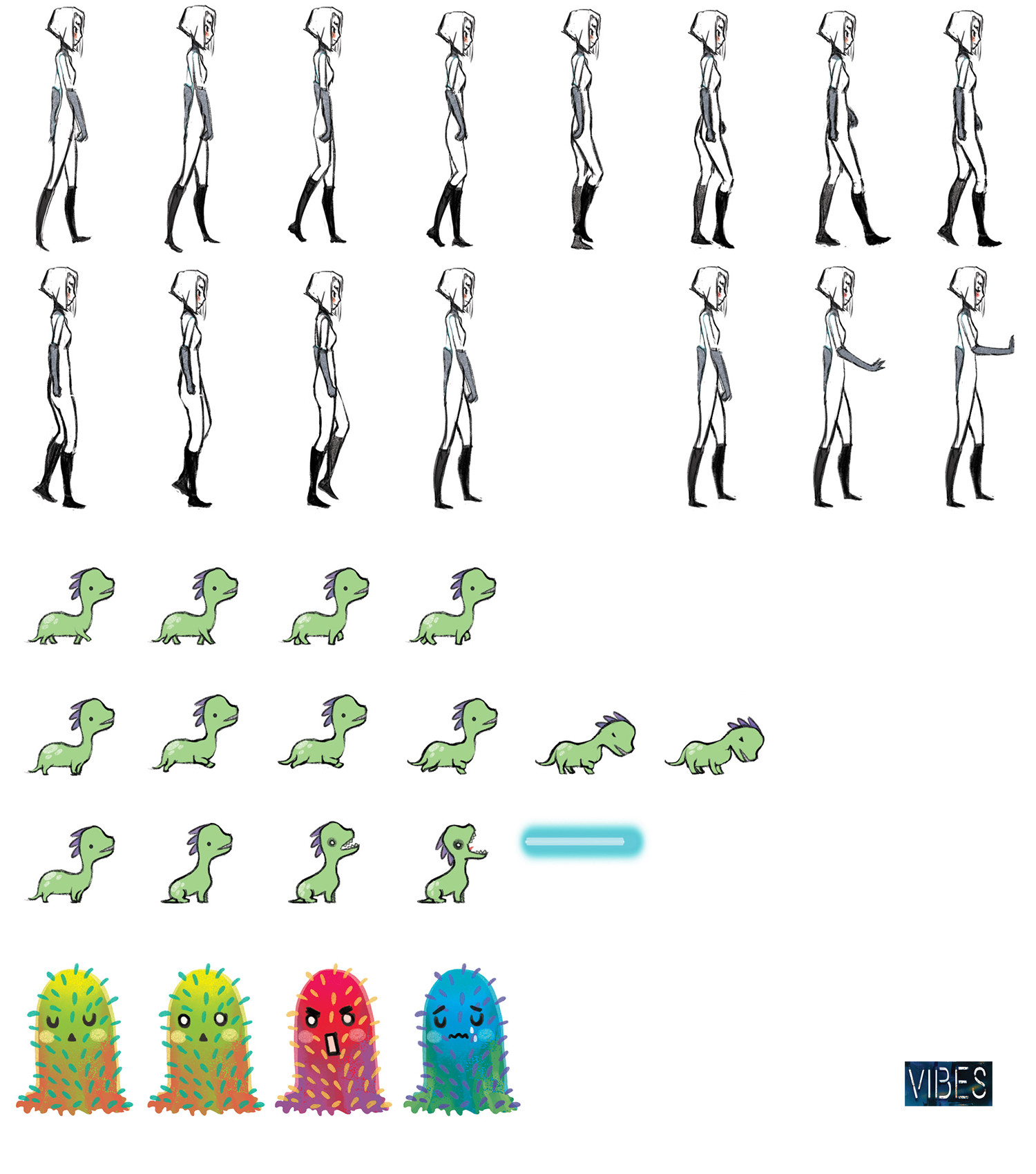 spritesheet of the two main characters and of the jelly monster