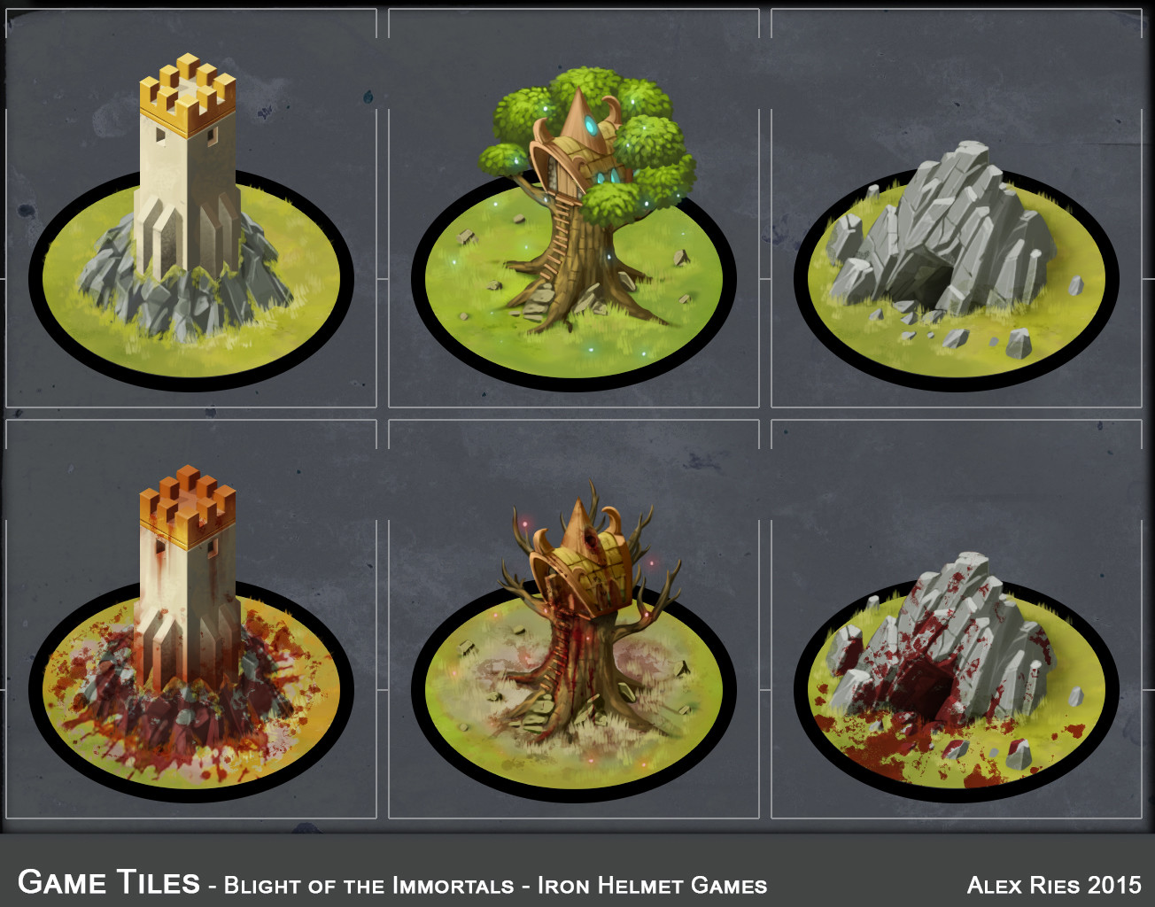 Game tiles, in normal and infected forms