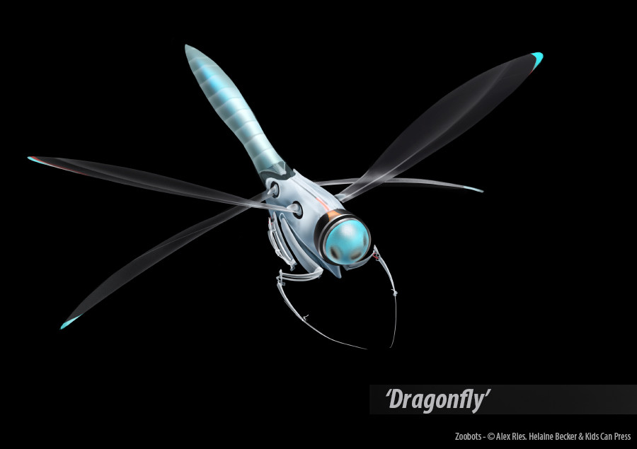 A fictional robot designed to hunt and kill mosquitos around wealthy tropical properties