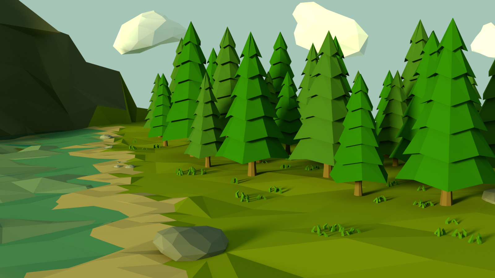 A nice little low poly forest.