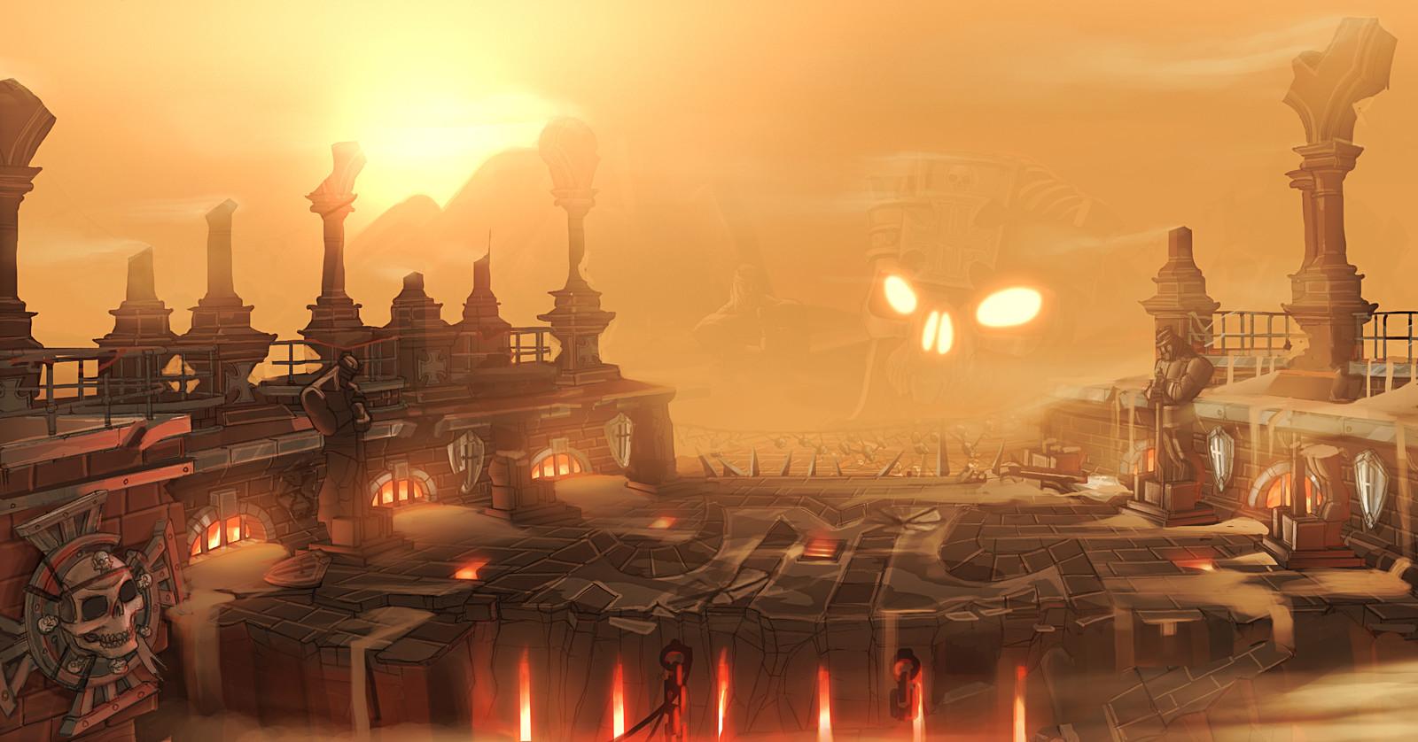A sandstorm envelops an arena