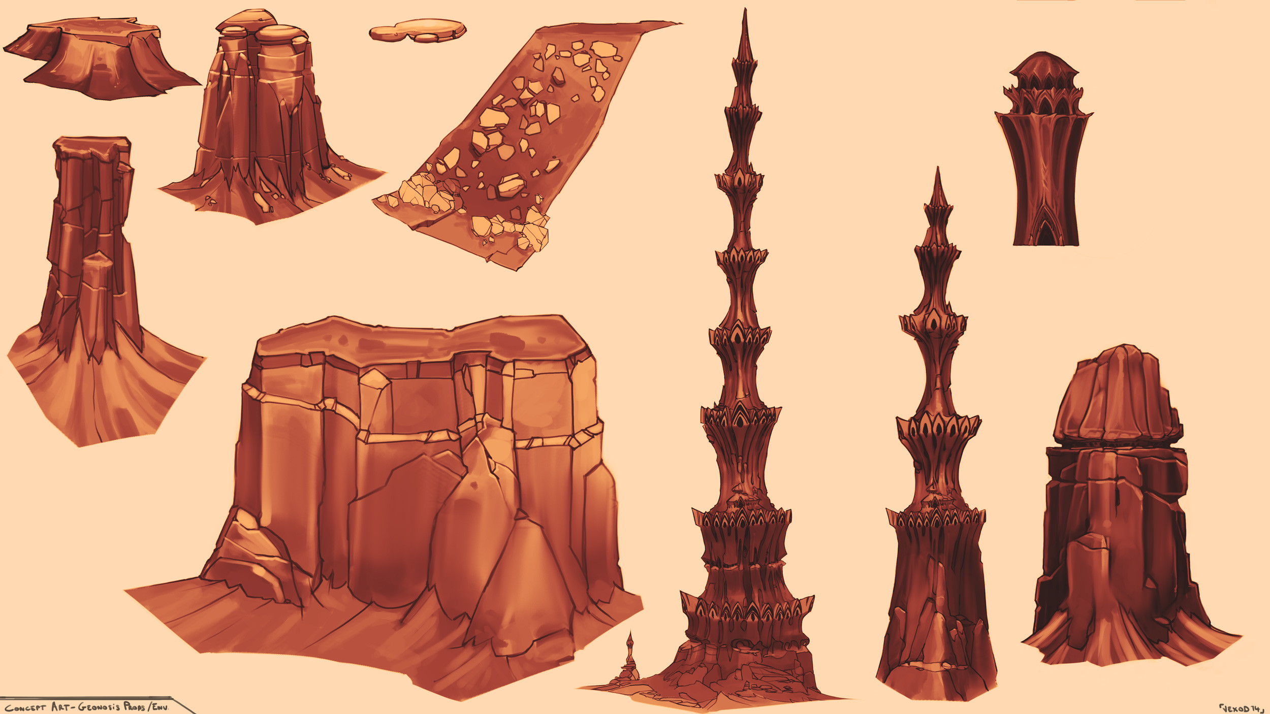 Some studies for Geonosis environment game art =)
