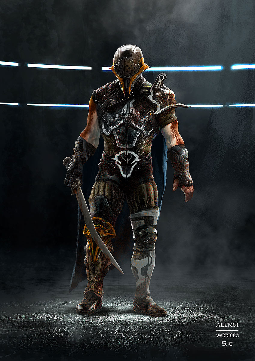 One of the guys that should face other gladiators (and Hulk?) in the arena of the grandmaster in Saakar. I've based my first proposals on the usual gladiator types : this one being close to a Thracian or a Secutor.