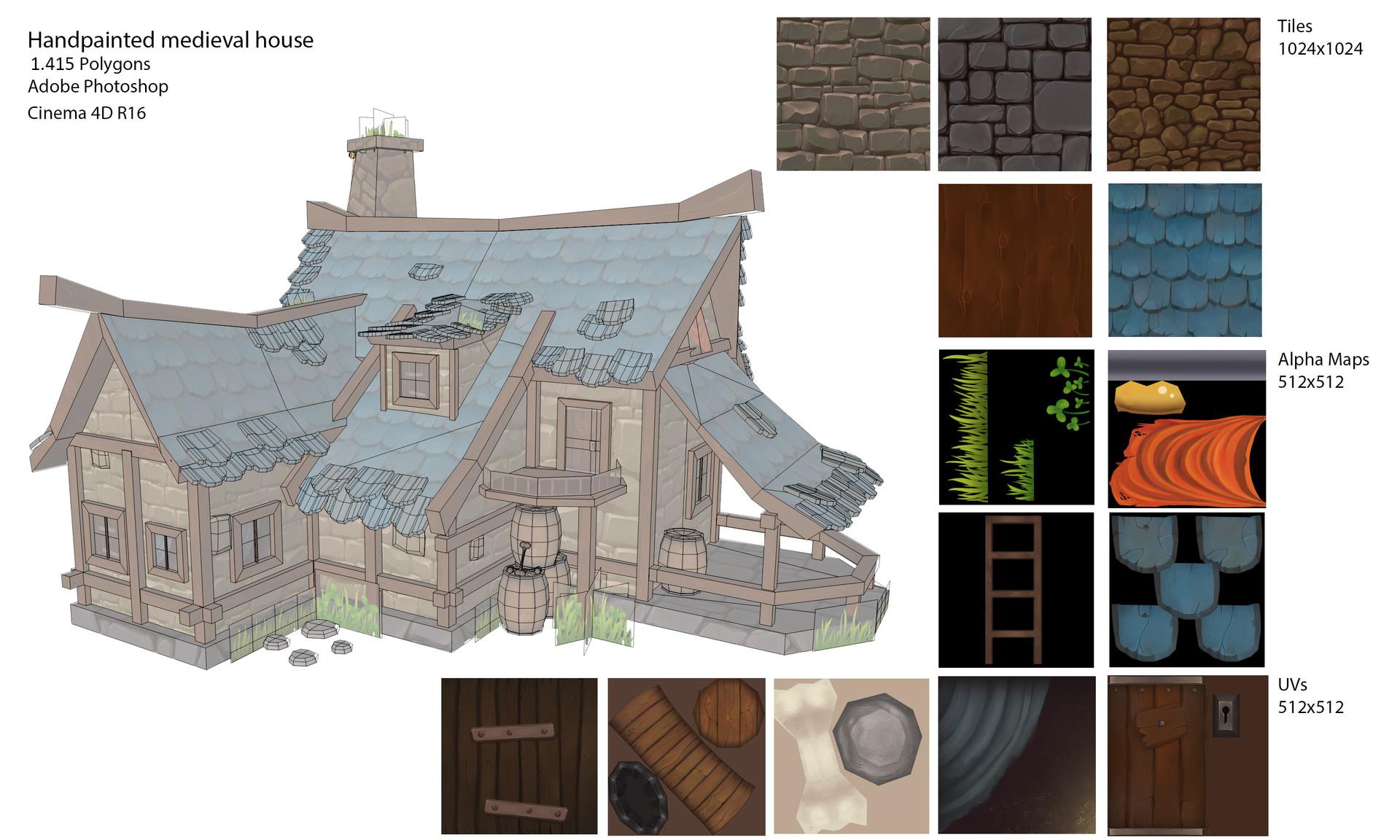 Gina voerde handpainted medieval house 01