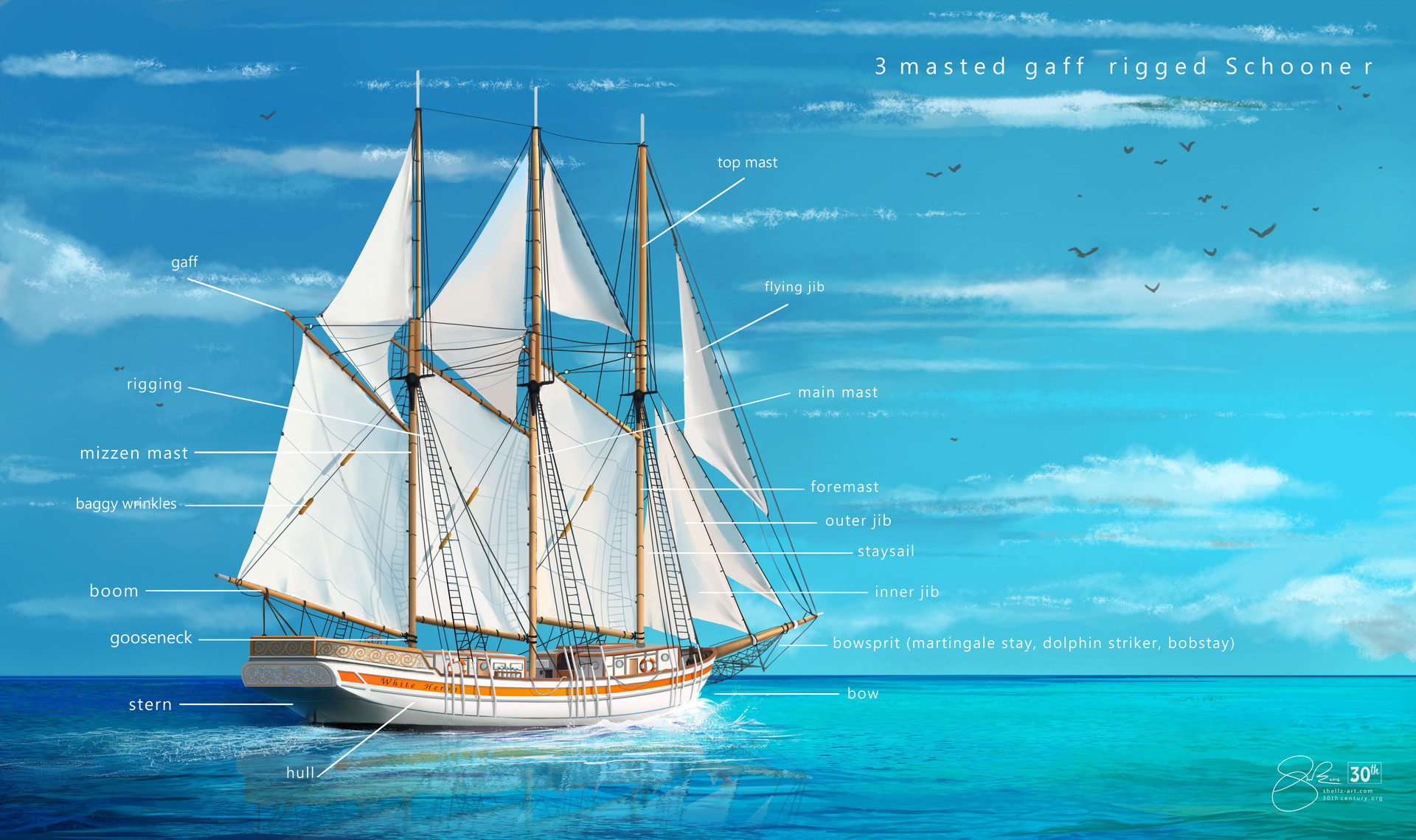 Shellz art schooner diagram