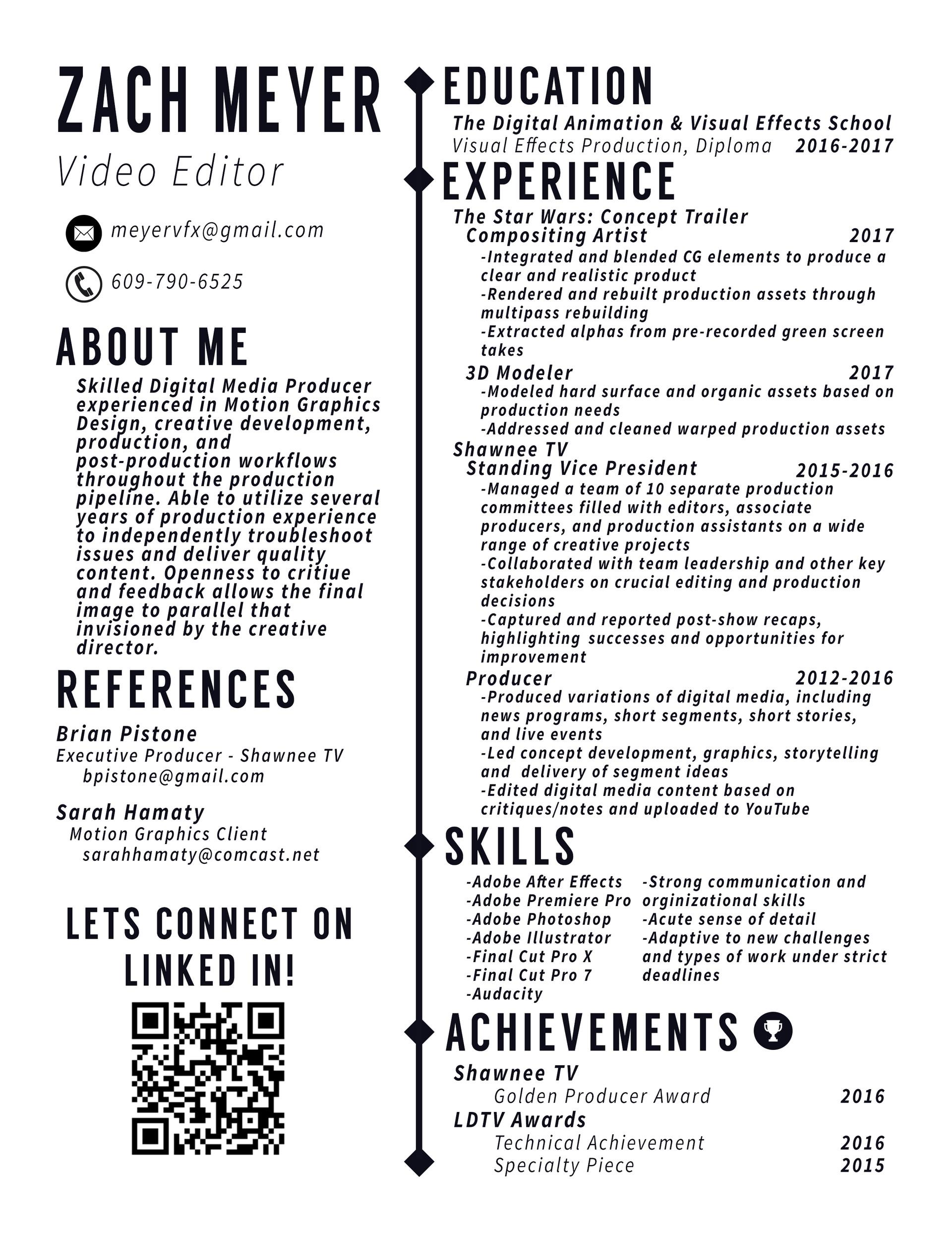 Meyer Vfx Resume Video Editor