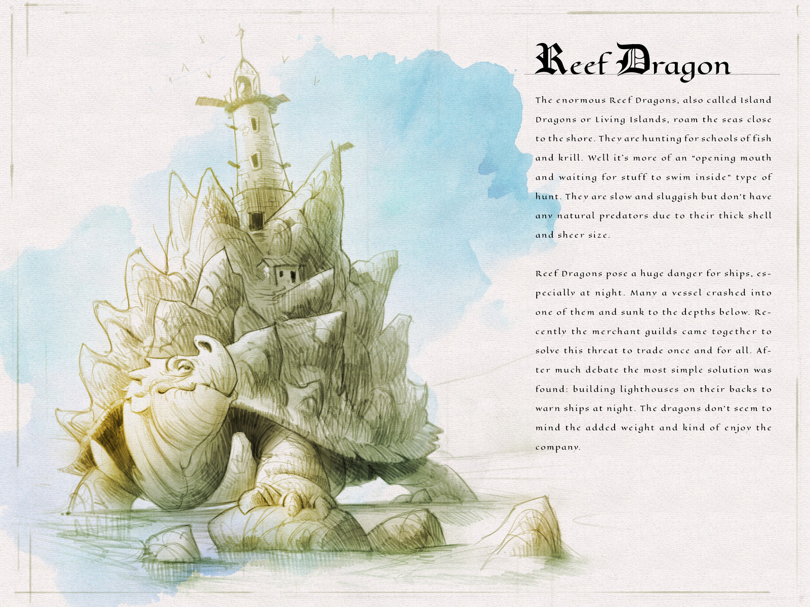 Page one of the  Dragon Compendium showing and describing the Reef Dragon