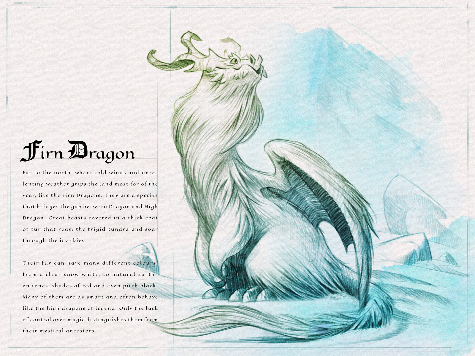 Page one of the  Dragon Compendium showing and describing the Firn Dragon