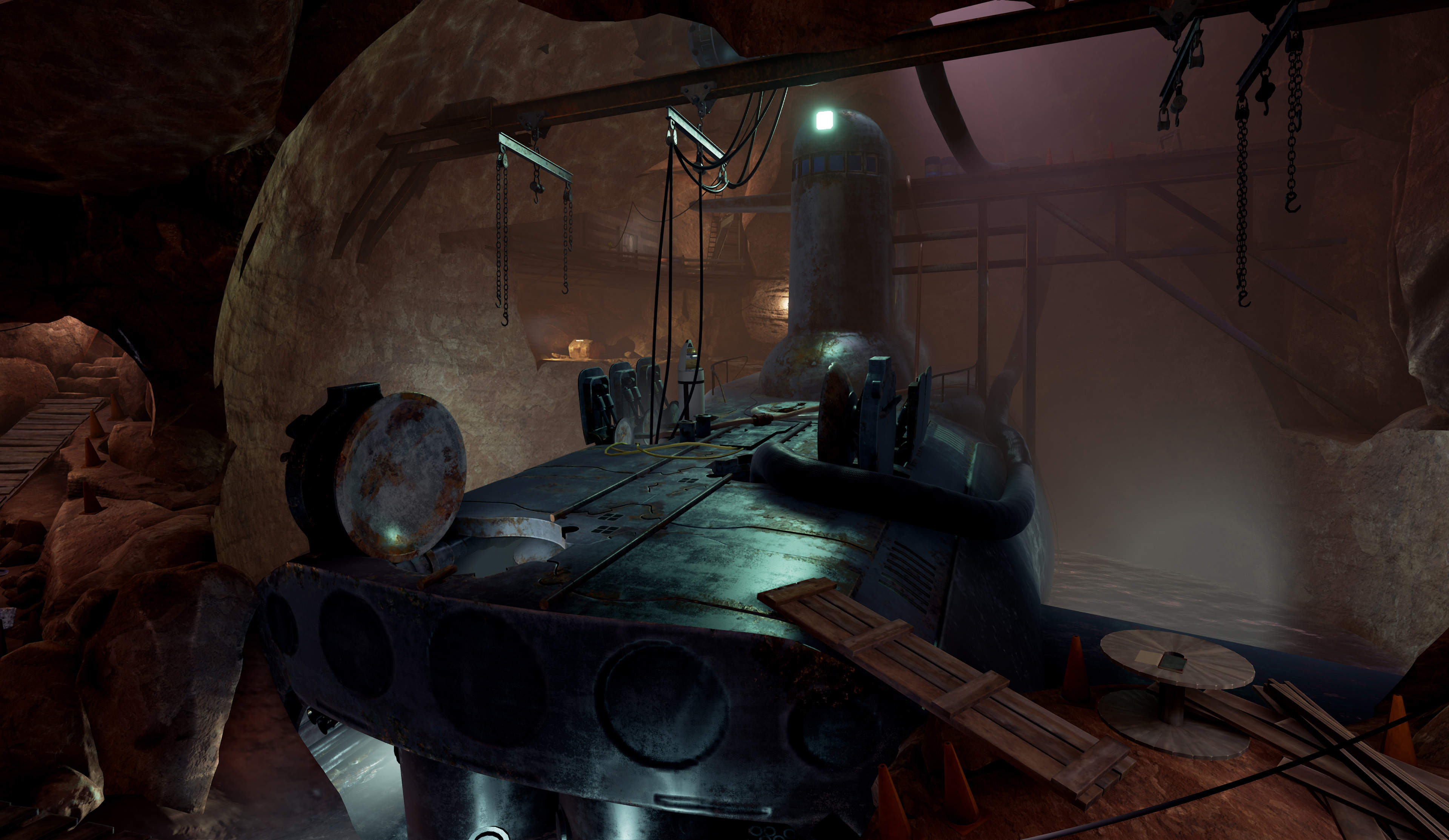 Hunrath - Submarine Cave  I was responsible for the second pass blockout, modeling, materials, set dressing, and lighting for the submarine cave area.