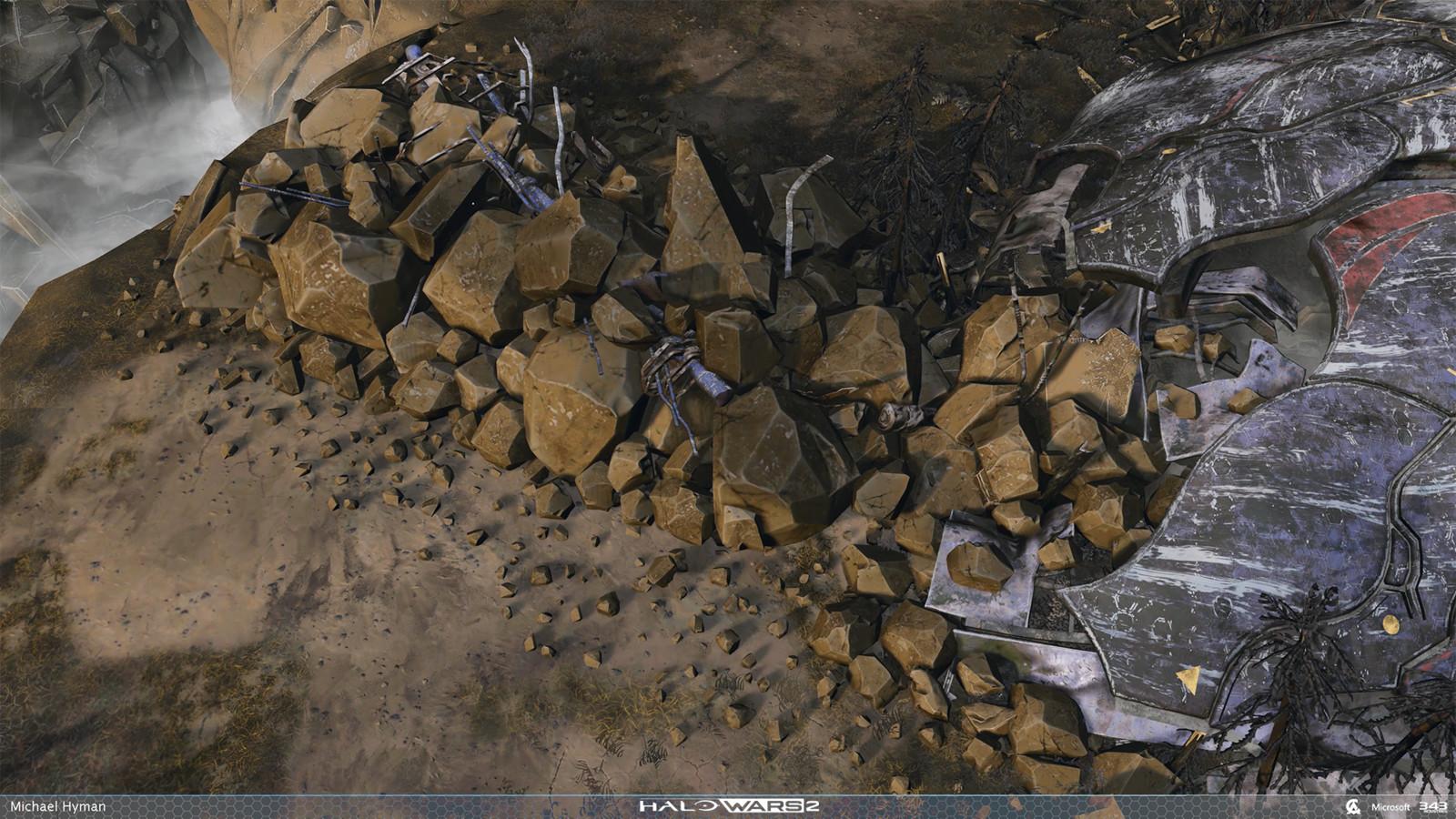 Destroyable Rock Barricade asset.