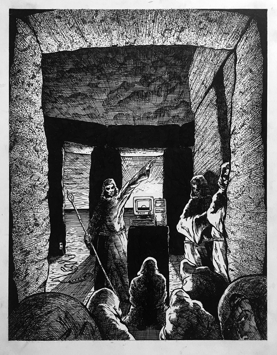 """Pen and ink, 8"""" x 10"""". Editorial illustration poking fun at the true meaning behind Stonehenge."""