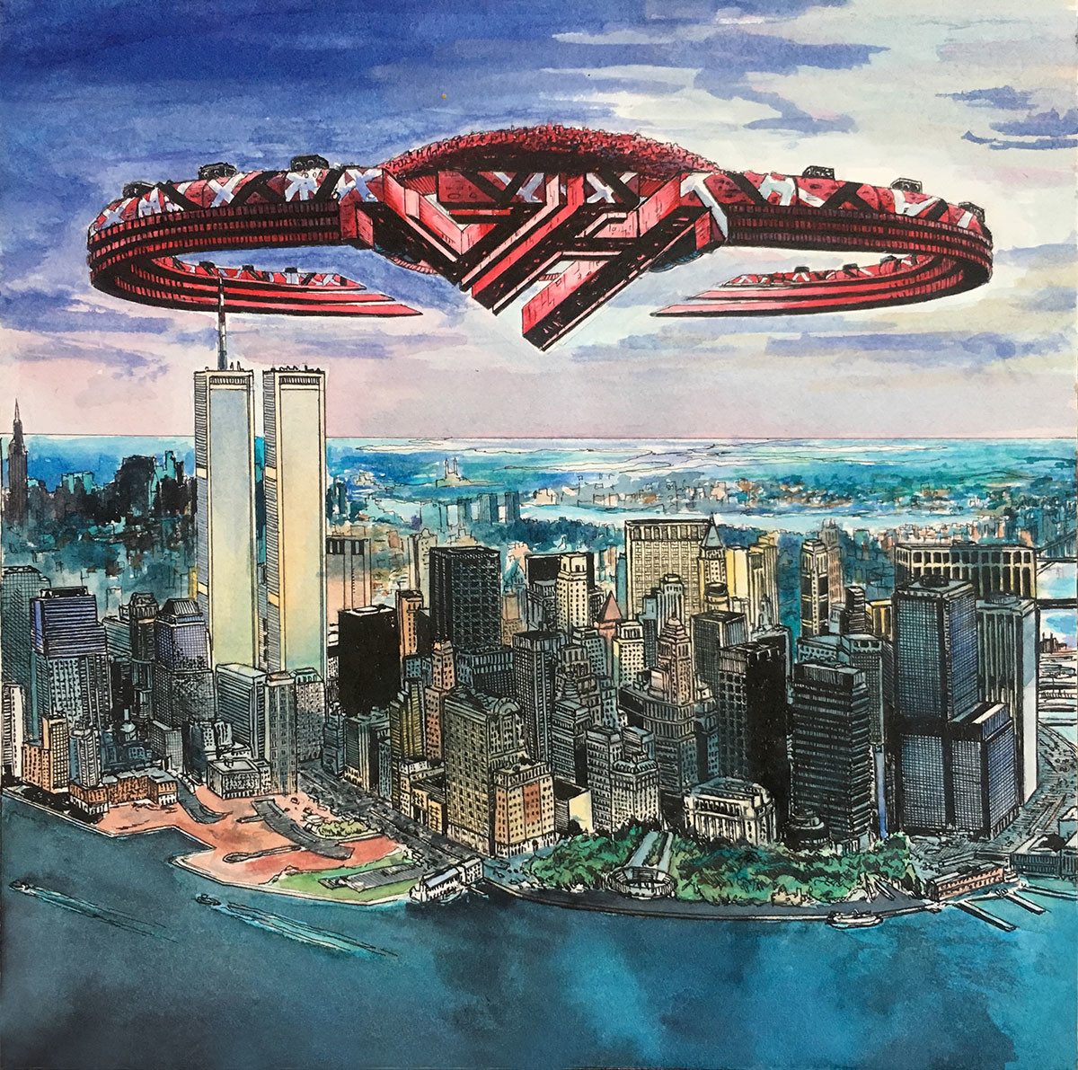 """8"""" x 8' pen and ink colored with watercolor. This was a fun attempt to create album artwork for my favorite band, Van Halen. It was done before September 11th, 2001. I had mailed a copy to the band shortly before that and received a positive response."""