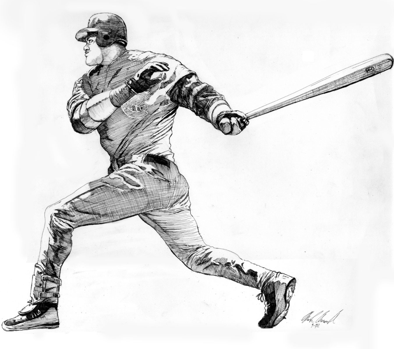 "8"" x 10"" pen and ink drawing of Sammy Sosa of the Chicago Cubs, drawn referencing a photo that appeared in a newspaper spread."