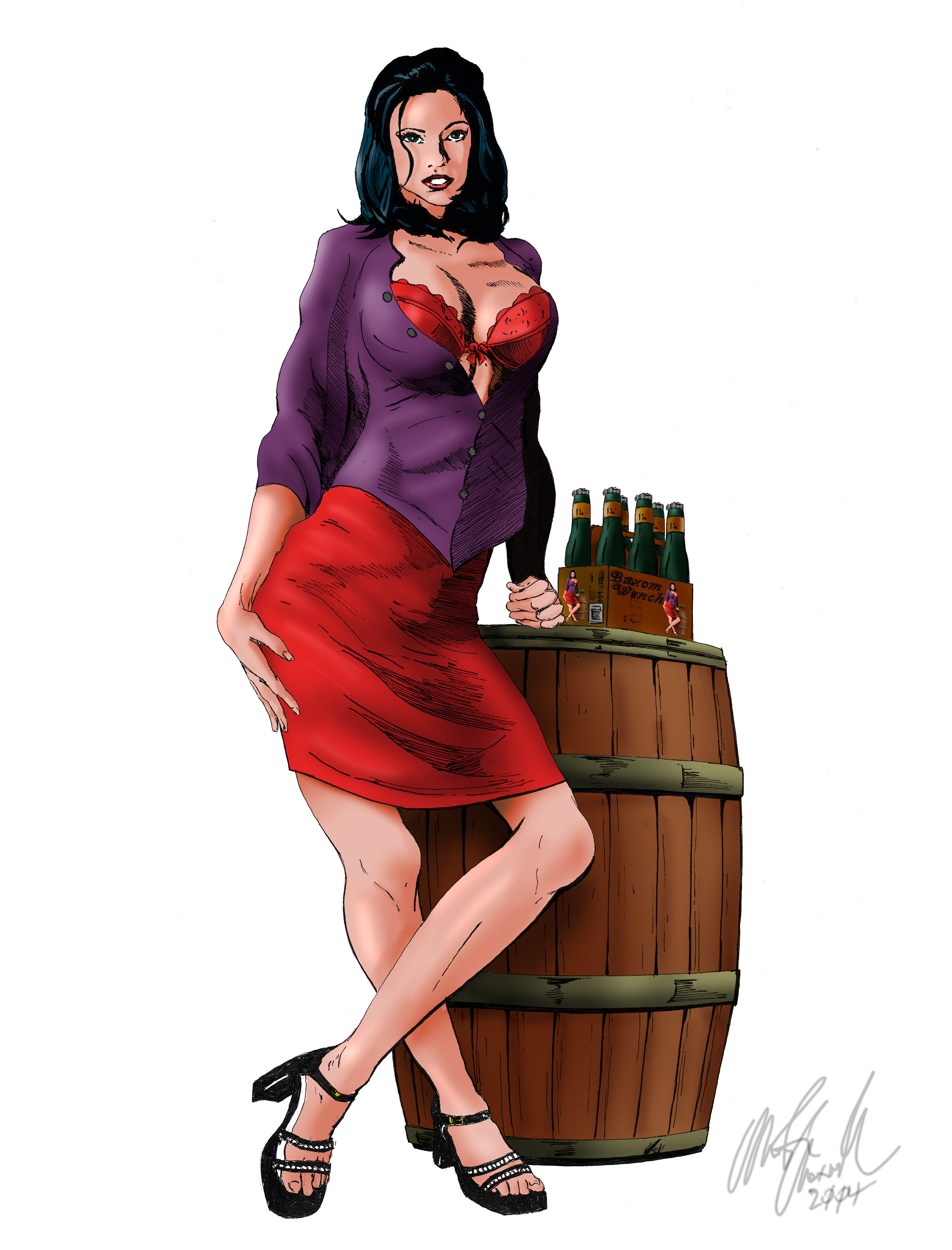 """Commissioned work, 8' x 10"""" pen and ink drawing colored in Photoshop. Used as a logo for a custom brewed beer."""