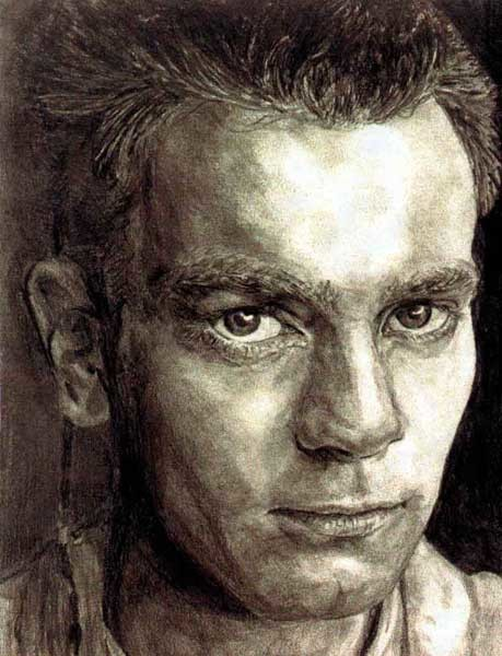 "8"" x 10"" graphite drawing of Ewan McGreggor as he appeared in Star Wars Episode 1 (as young Obi Wan Kennobi)."