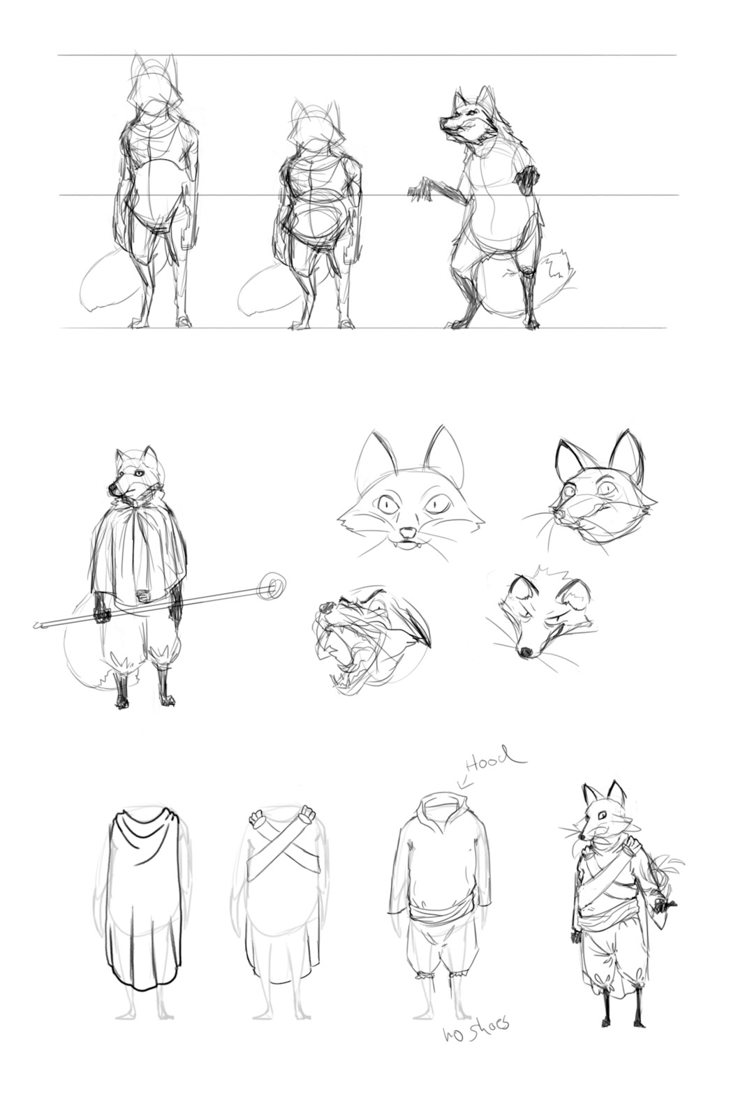 Here I tried to determin the overall body shape and possible clothing choice. None of them made it into the final concept.