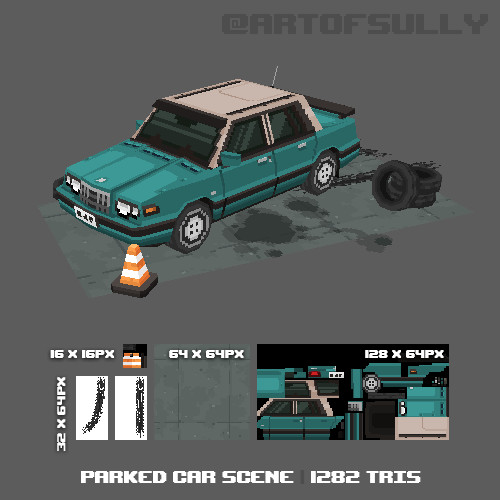 3D Pixel-Art Parked Car Scene (Commission)