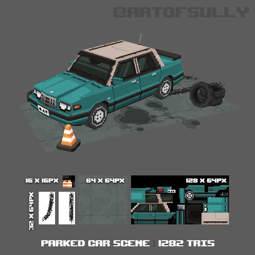 3D Pixel-Art Parked Car Scene (Commission)