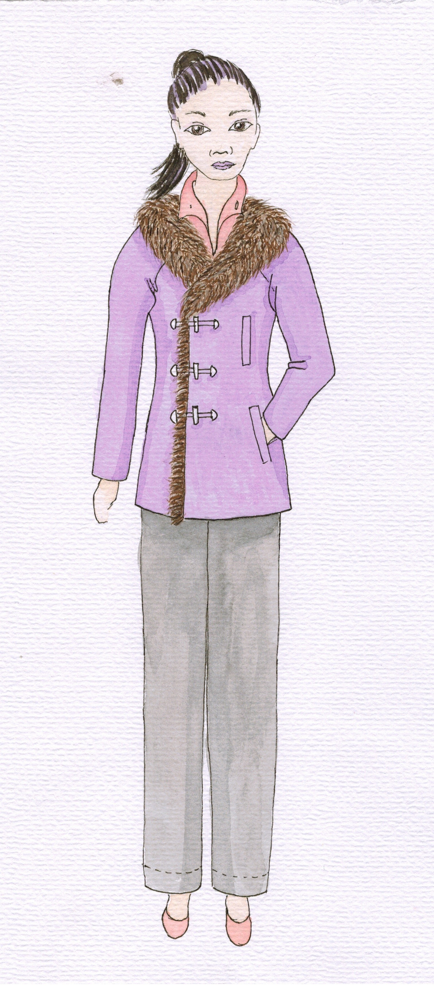 Meris mullaley fashion watercolor purple coat