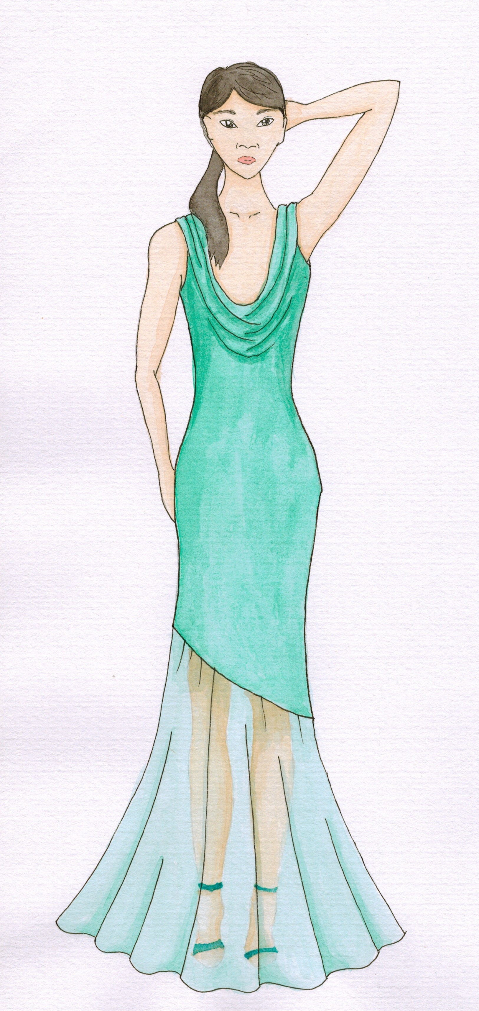 Meris mullaley fashion watercolor green formal