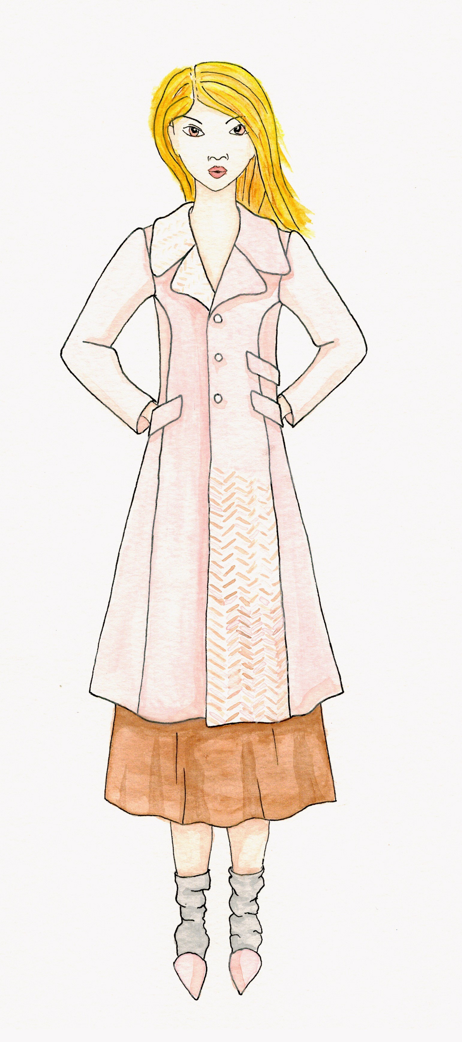 Meris mullaley fashion watercolor pink coat