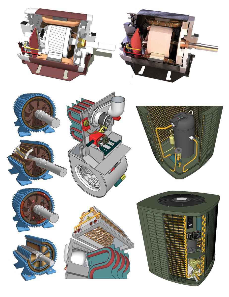 These are additional 3D models created for use in the book depicting motors, a residential HVAC assembly, and a residential air conditioning unit.