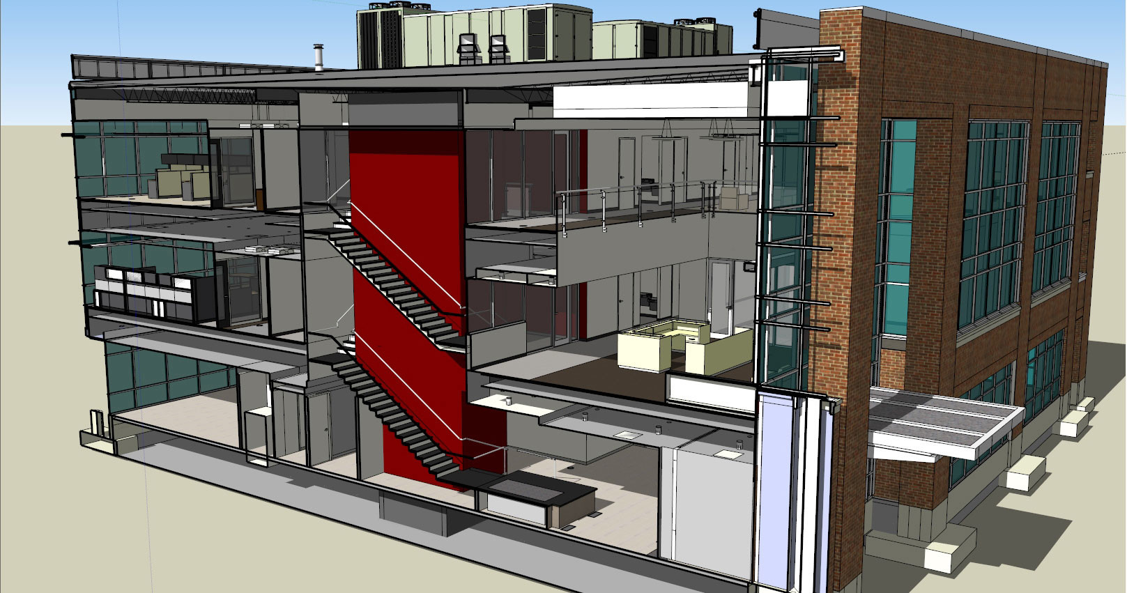 Cutway image of the ATP building created in SketchUp.