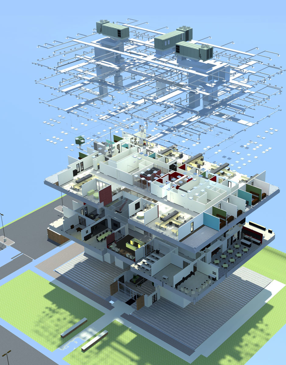 This is an exploded view render of all 3 floors of the ATP building I created in SketchUp. Also shown is the HVAC system, suspended above the structure.
